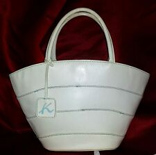 KITAMURA JAPAN Leather HANDBAG Creamy White Leather Light Blue Stitching VINTAGE