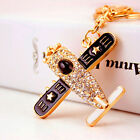 New Plane Keychain Crystal For Car Key Ring Handbag Cell Phone Holder Jewelry