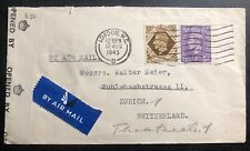 1945 London England Airmail Censored Cover To Zurich Switzerland