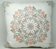 "Martha Stewart Collection Jardin Medallion 18"" Square Decorative Pillow - White"