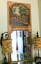 """Antique French Trumeau Mirror 61"""" & Canvas Oil Painting Satyr Nymph"""