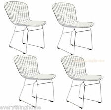 4 BERTOIA STYLE DINING SIDE CAFE CHAIRS STEEL WIRE CHROME MESH WHITE PAD -331 LB