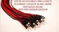 Jouef Lima Roco Lot de 20 Led 3mm 12 Volts Cables Mix Couleur Trains Ho  1/87