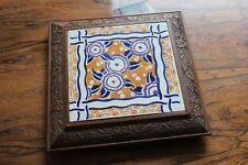 Ancien Dessous plat bois carreau de faience 1920 30 Art déco era Creil Choisy