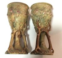 2 Rare Weller Art Pottery-Woodcraft -Pedestal Vase- Green with Embossed Flowers