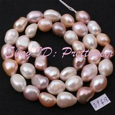 8-9mm Freeform White Pink Lilac Freshwater Cultured Pearl Loose Beads Strand 15""