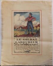 Lithographie Affiche ancienne Le Soldat Laboureur Guy Arnoux 1917 Propagande