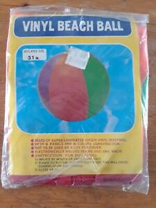 """Vintage Inflatable 31"""" Beach Ball - Marsco - New in package, NOS new old stock"""