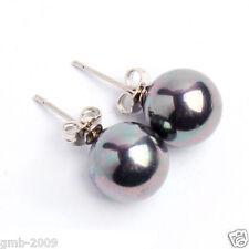 10mm Rainbow Black South Sea Shell Pearl 925 Sterling Silver Stud Earrings