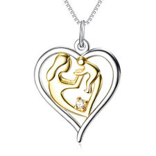 Mother and Child 925 Sterling Silver Love Heart Pendant Necklace Gift For Mom