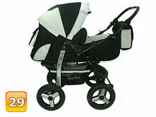Baby Pram Stroller Pushchair Car Seat Carrycot Buggy 3in1 Travel System 7 Yes