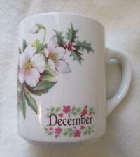 Rare ~ December Mug with Christmas Rose Pattern ~ Mc Cay - Larson ~ Knoxville