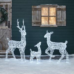 LED Rentier Hirsch Reh Kitz Familie Beleuchtung Weihnacht Außen Timer Lights4fun