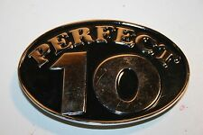 Perfect 10 Metal Belt Buckle Black Chrome Funny Conversation Piece Mint
