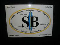 "SANTA BARBARA SURF SURFING SURFBOARD FIN BEACH STICKER ""BEEN THERE.SURFED THAT"""