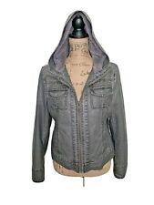 Miss Sixty M60 Women's Gray Leather Jacket Faux Fur Size  L excellent condition