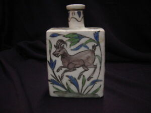 Vintage Persian Pottery Bottle Depicting Stag and Flower Design