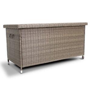 Polyrattan Auflagenbox Kissenbox Gartenbox Truhe Box rollbare  Aufbewahrungsbox