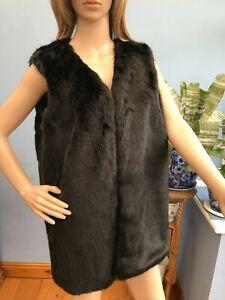 New Look Black Faux Fur Waistcoat Gilet Bodywarmer Size 14