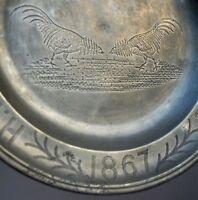 plat étain dédicatoire combat de coq - mons en pévèle daté 1867