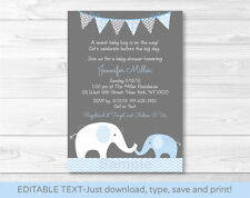 Blue Chevron Elephant Mom & Baby Printable Baby Shower Invitation Editable PDF