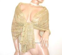STOLA ORO foulard donna coprispalle dorato scialle velato elegante cerimonia G64