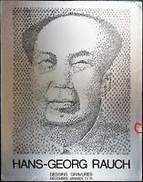 "Hans-Georg Rauch Dessins Gravures Vintage Poster ""Mao Tse-Tung"" Portrait"