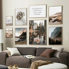 Nordic Mountain Lake Wall Art Poster Autumn Nature Landscape Painting Home Decor