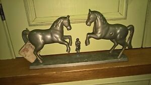Antique unusual money box with 2 horses 1890 – brass with nickel plate
