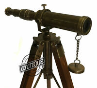 Vintage Xmas Gift Nautical TELESCOPE WITH WOODEN BOX Hand-made 6 inch Spy-G