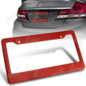 1 X Red Carbon Style License Plate Holder Cover Frame Front Or Rear Universal 5