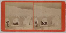 c1860s Stereoview - Observers' Gymnasium in winter @ Mt Washington New Hampshire