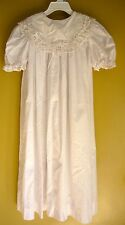 White Long Girls Easter Church Dress Size 6 By Chabre Battenburg Lace EC