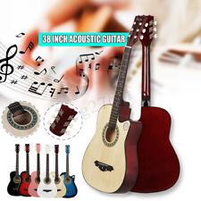 38 inch Beginners Acoustic Guitr Wood Strp Tuner Pick Steel String Gift
