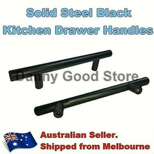 Matte Black Steel T Bar Pull Handles For Kitchen Cabinet Cupboard Drawer 76/96mm