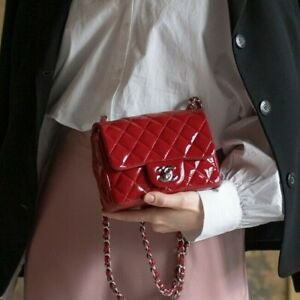 VERIFIED Authentic CHANEL Red Quilted Patent Leather Square Mini Flap Bag