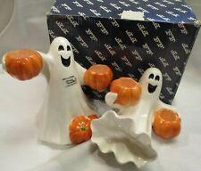 Fitz & Floyd Ghost Halloween Candle Holders 2 Box Taiwan Pumpkins Ff Vintage