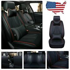 US Universal 3D Car PU Leather Seat Covers 5-Seats SUV Front+Rear Cushion Black