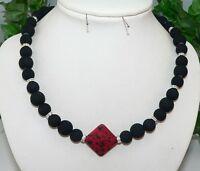 Halskette Collier Kette Perle schwarz Eyecatcher  rot dunkelrot Strass  382c