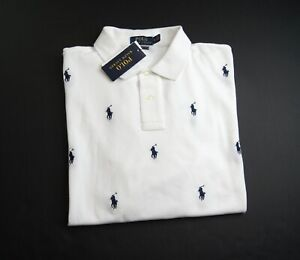 POLO RALPH LAUREN Men's White Classic Fit Allover Pony Polo Shirt NEW NWT