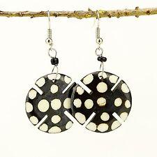 Handmade African Jewelry Round Notched Polka Dot Bone earrings 482-133