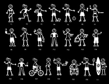 Stick Family Car Window Stickers Vinyl Bumper Decals MY STICK FIGURE FAMILY