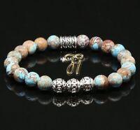 Herbst Jaspis Armband Bracelet Perlenarmband Silber Beads Buddha 8mm