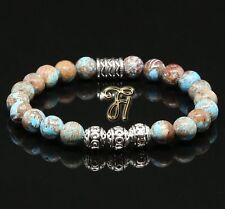 Autumn Jasper Bracelet Pearl Bracelet Silver Beads Buddha 0 5/16in