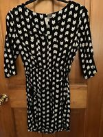 Mimi Chica Black and White Cat Pattern Half Sleeve Shirt Dress Size Medium