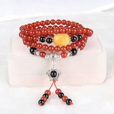 Bracelet Silver Elastic Long Charms Flower Sun Pearl Red Agate Black