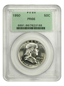 1950 50c PCGS PR 66 (OGH) Popular First Year Proof, Old Green Label Holder