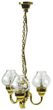 Dollhouse Miniature 3 Arm Chandelier with Clear Globes in 1:12 Scale