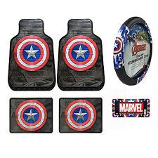 New 6pc Captain America Car Truck Front Rear Floor Mats & Steering Wheel Cover