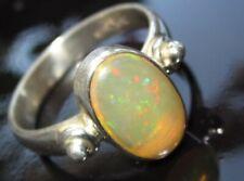 RARITÄT Ring Natur Opal ECHTER  Kristallopal Gr18 925 Sterling Silber 12x8mm TOP